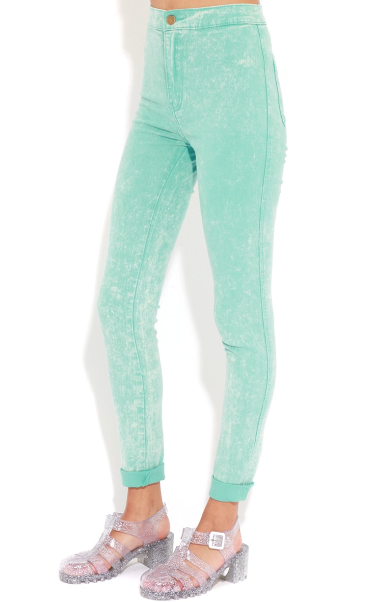Annie Mint Acid Wash Skinny Jeans 3