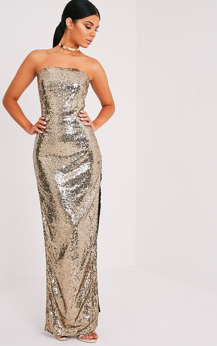 Kathie Gold Bandeau Sequin Maxi Dress 1