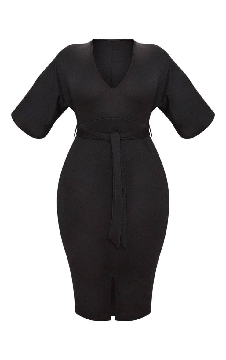 Plus Black Tie Waist Plunge Kimono Sleeve Midi Dress 3