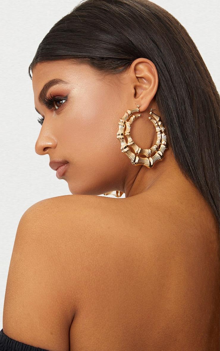 Gold Double Creole Hoop Earrings 1