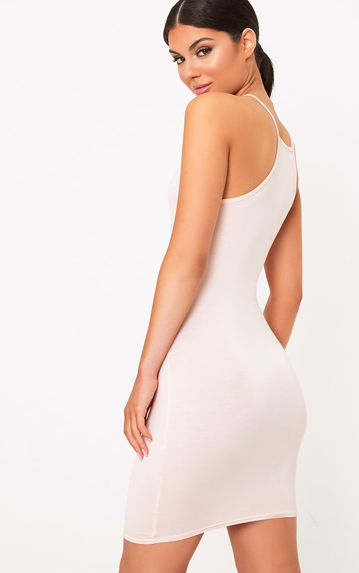 Basic Nude Jersey High Neck Bodycon Dress 2