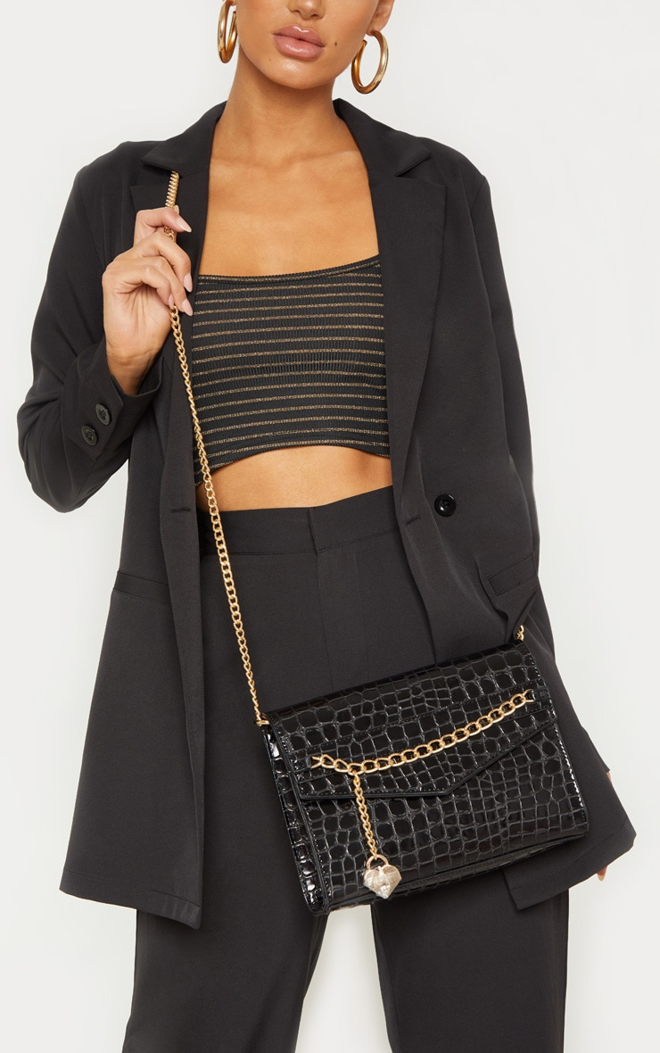 Black Metallic Croc Print Cross Body Bag 1