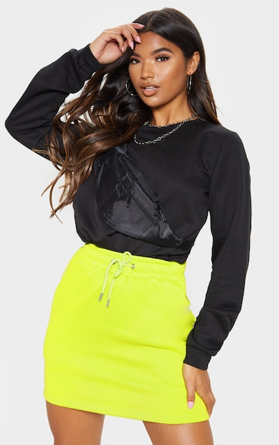 Neon Lime Sweat Drawstring Waist Mini Skirt