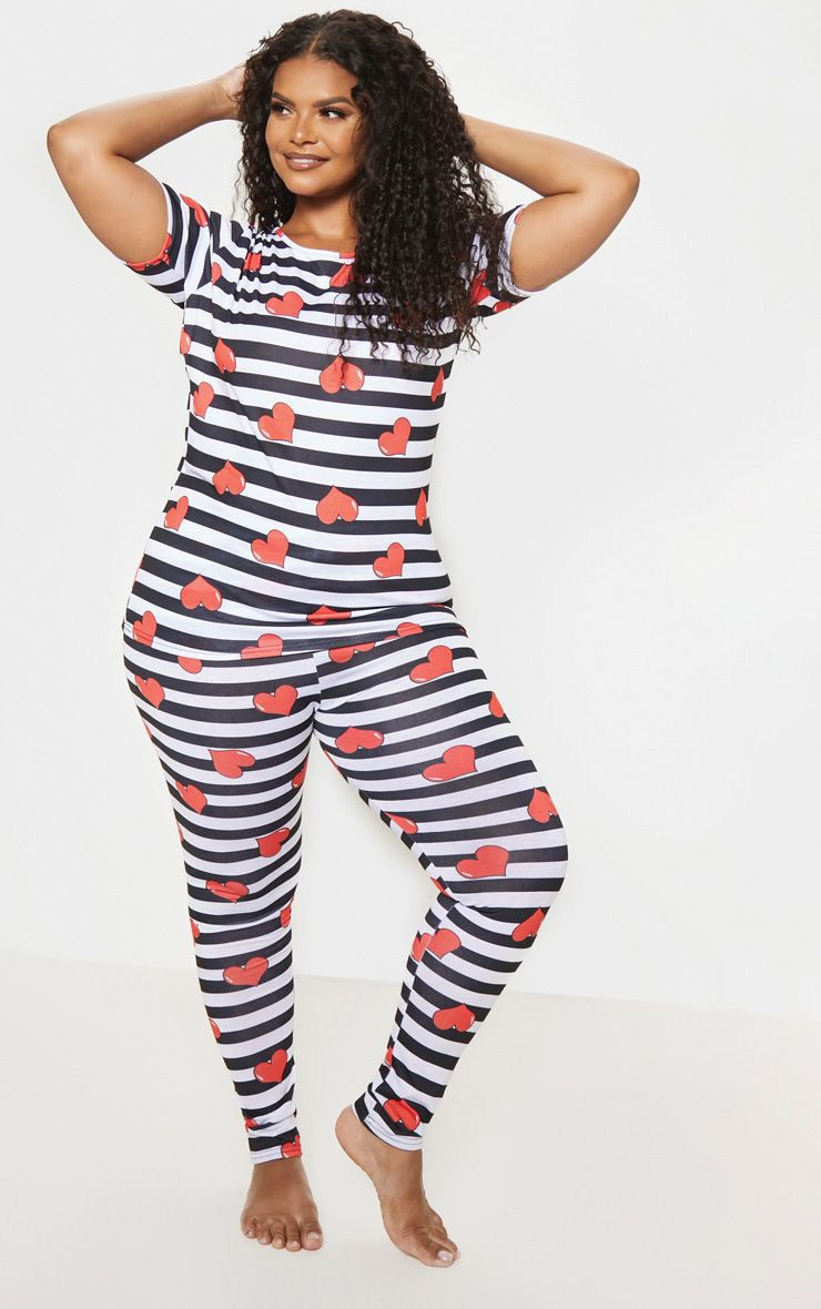 Plus Black Stripe Heart Print Pj Set 1