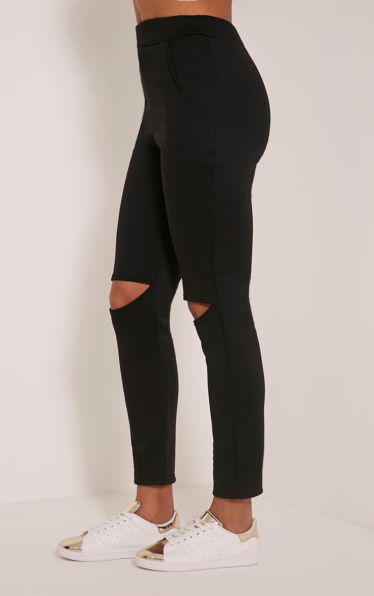 Dionne Black Slit Knee Joggers 3