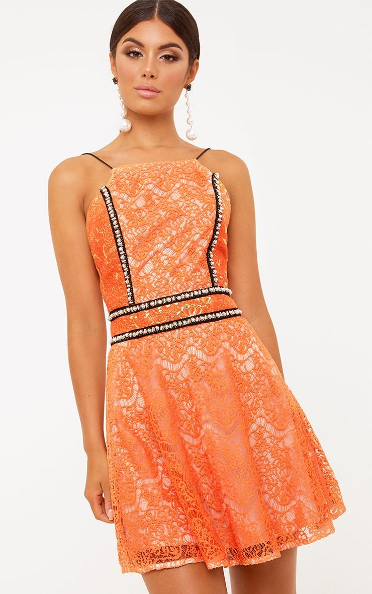Premium Orange High Neck Skater Dress 2