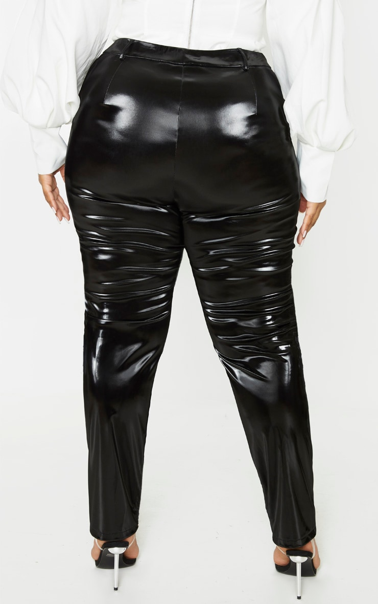 Plus Black Vinyl Skinny Trousers 4