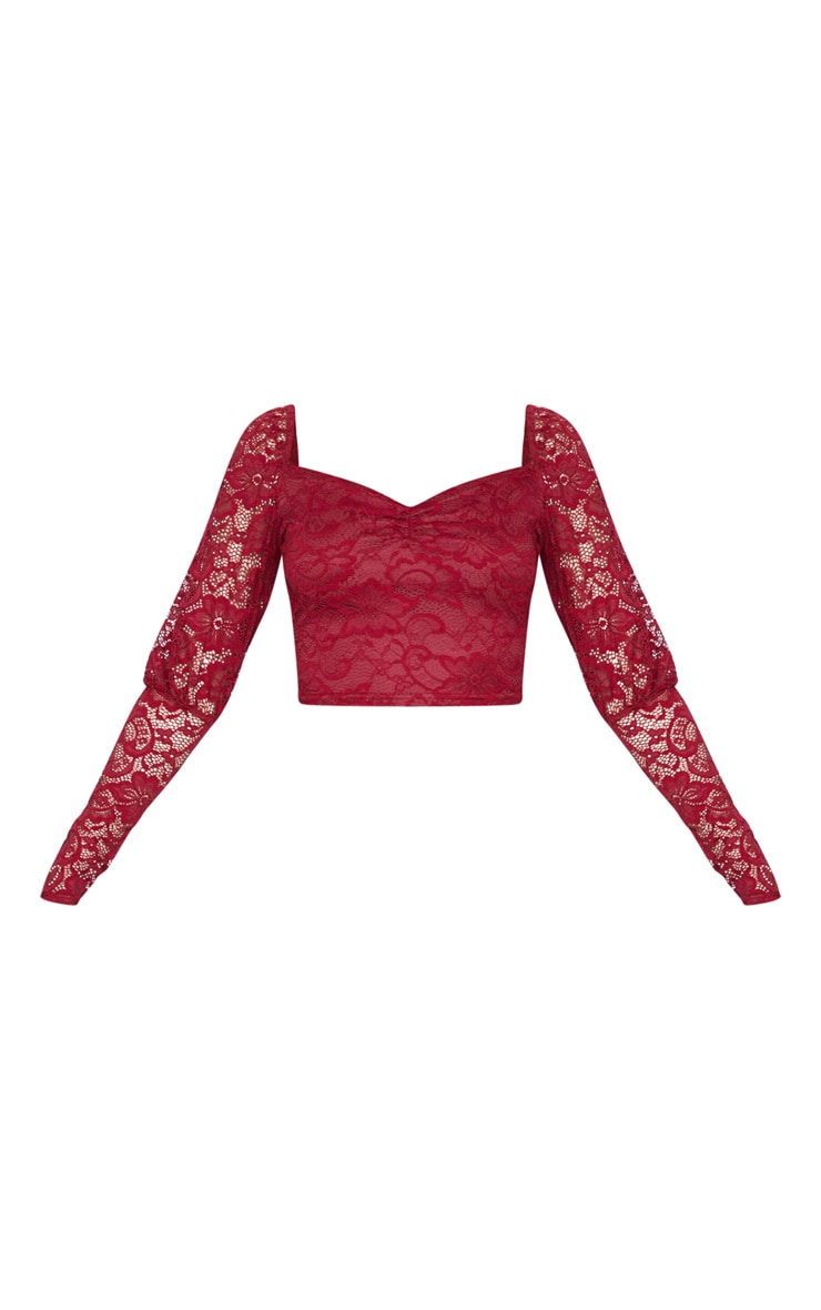Scarlet Lace Puff Sleeve Crop Top 4