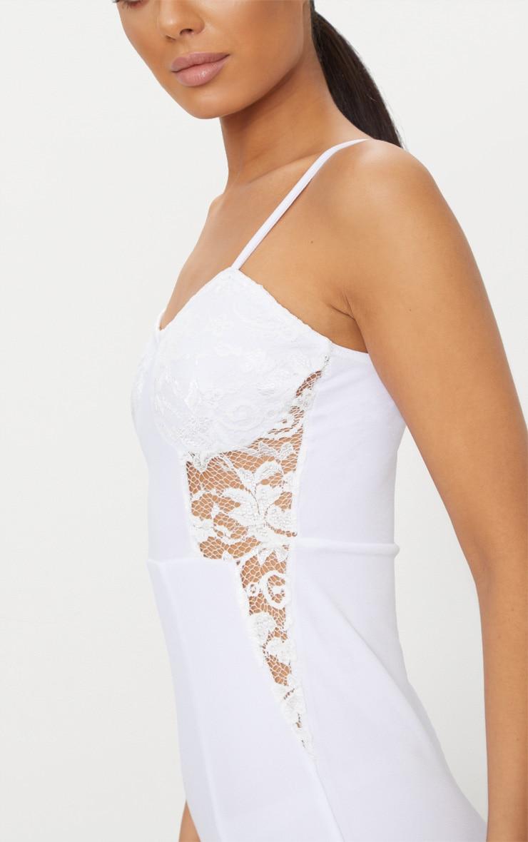White Strappy Lace Panel Midi Dress 5