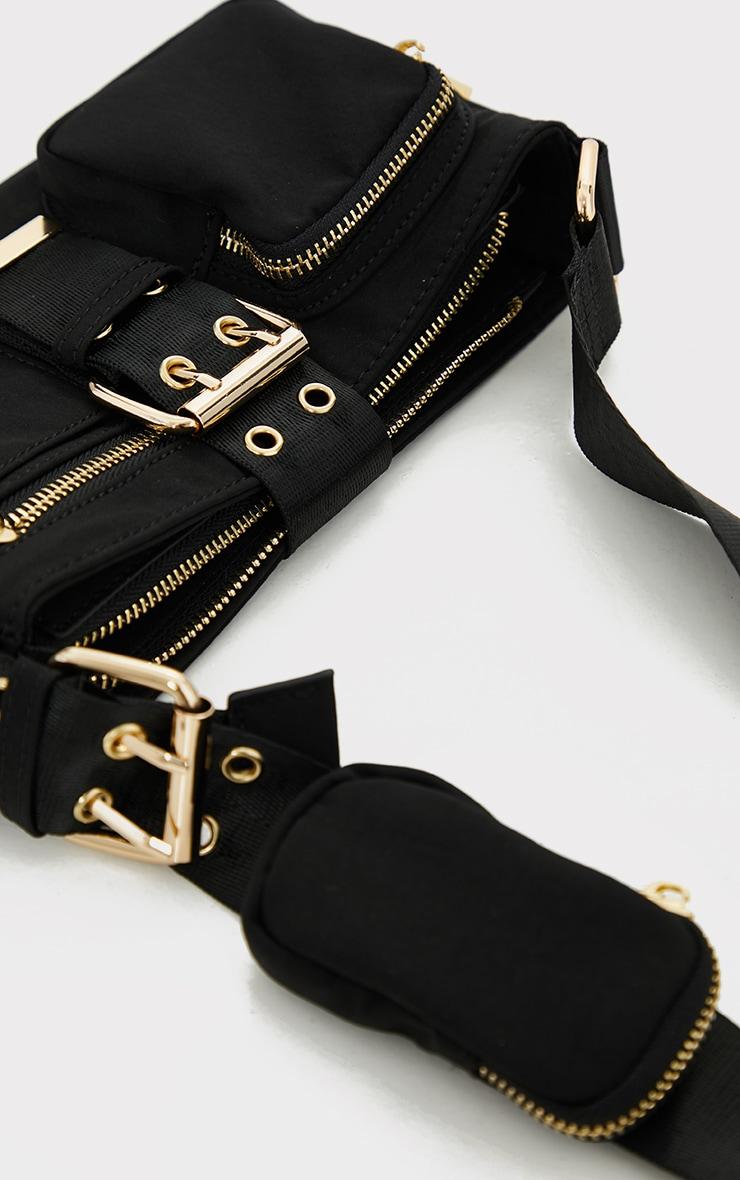 Black Multi Pocket And Zip Shoulder Bag 3