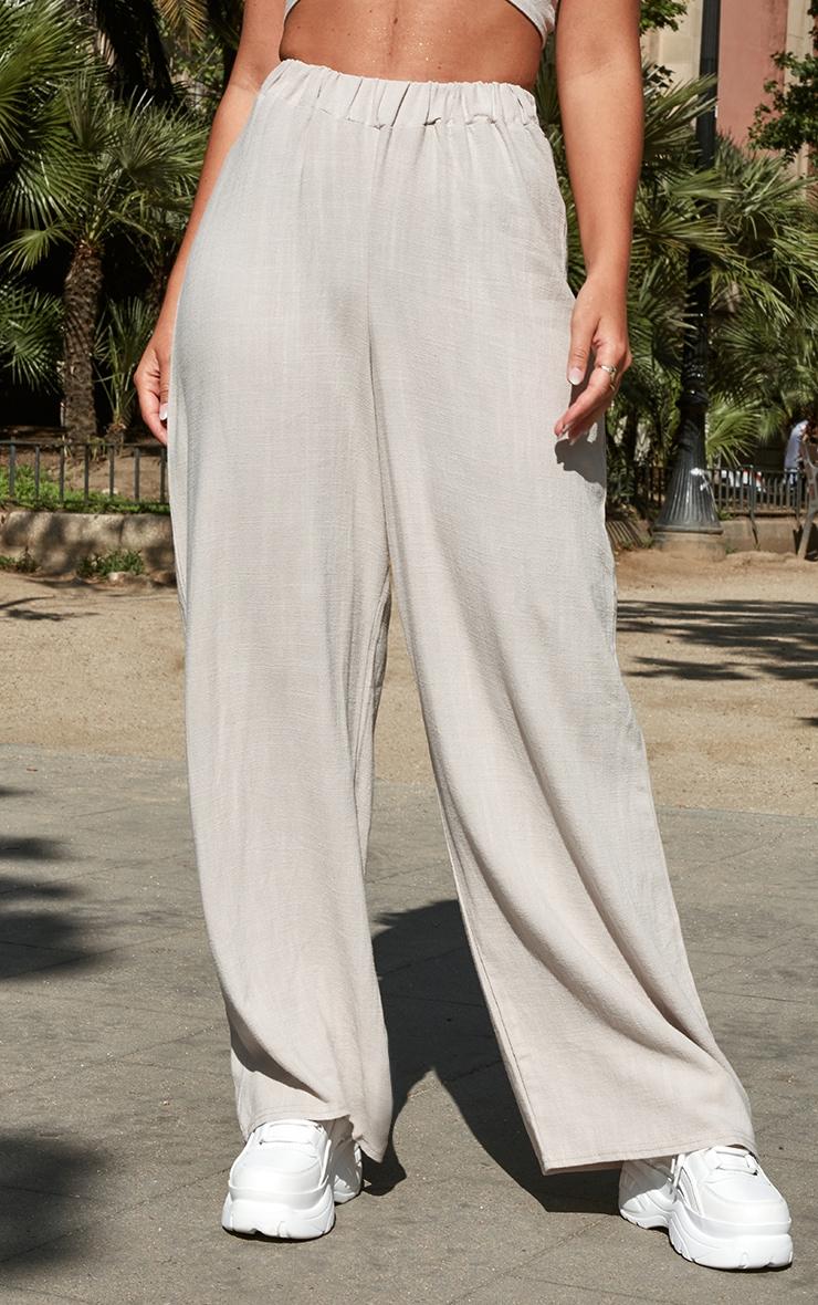 Petite Light Grey Wide Leg Trousers 2