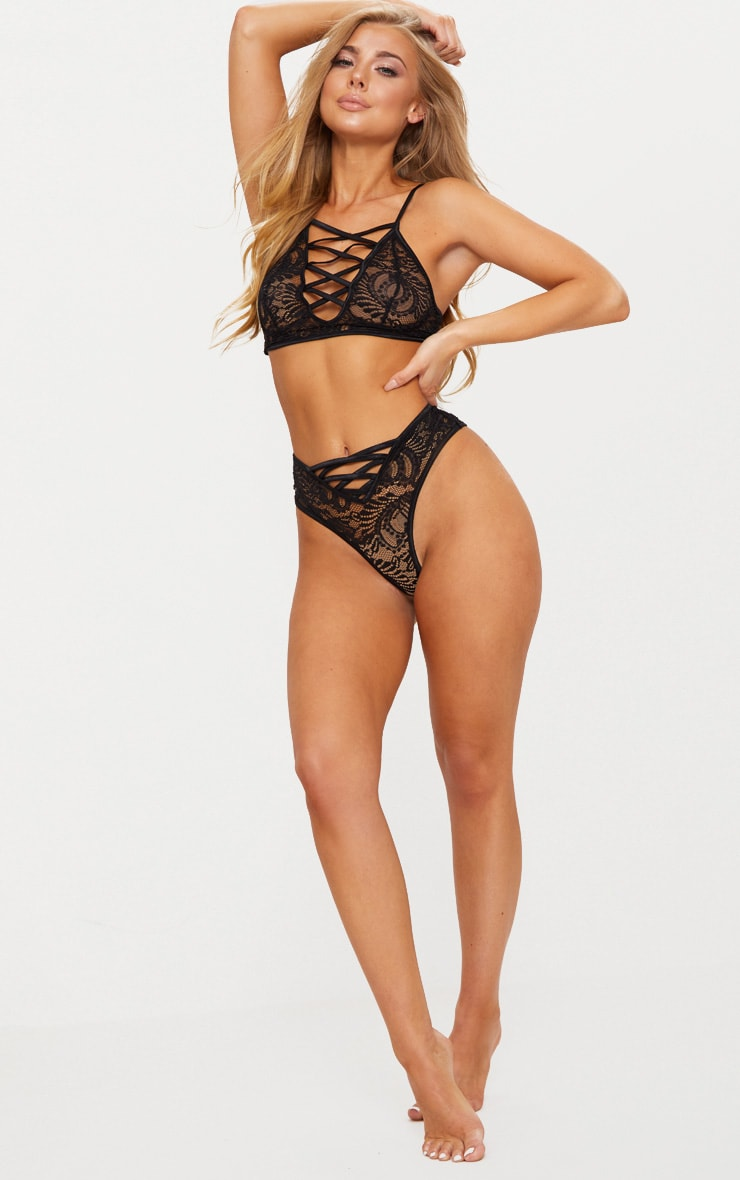 Black Laced Front High Neck Lace Bra 4