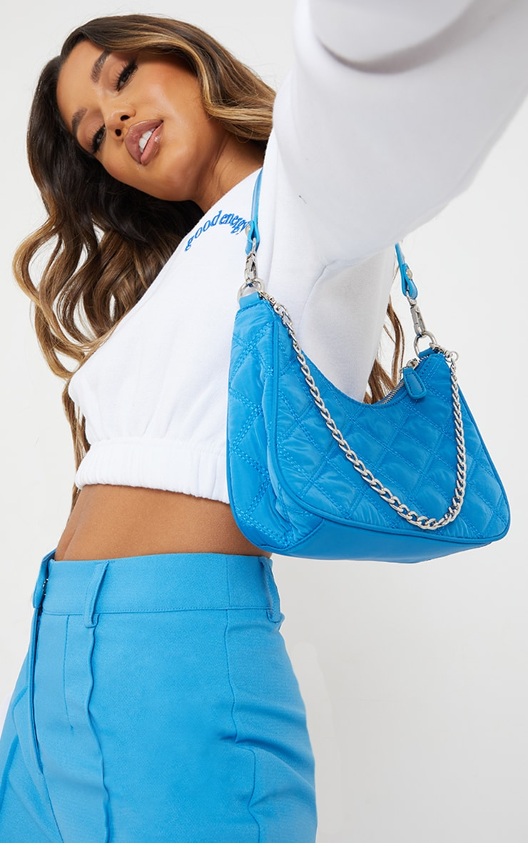Electric Blue Quilted Silver Chain Detail Shoulder Bag image 1