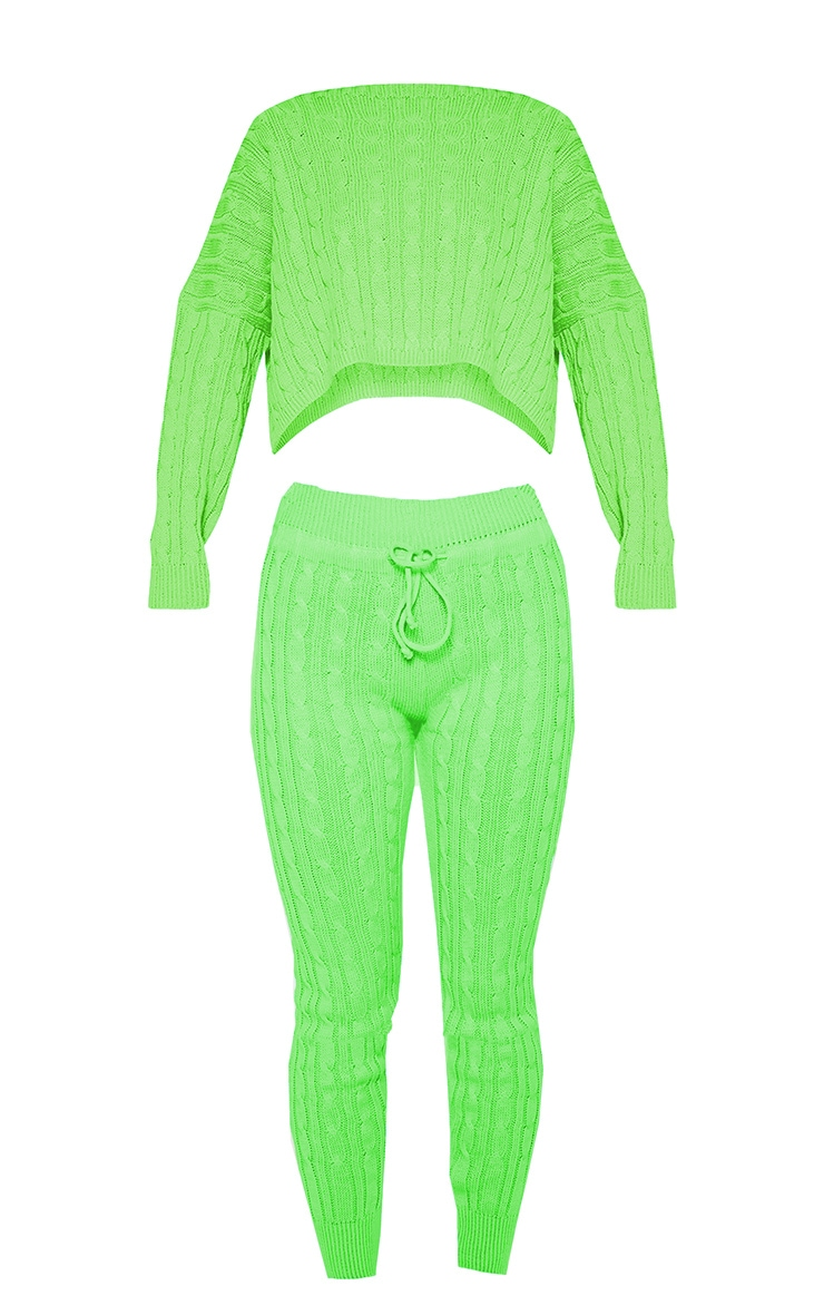 Neon Lime Cable Knit Jumper & Legging Set 3