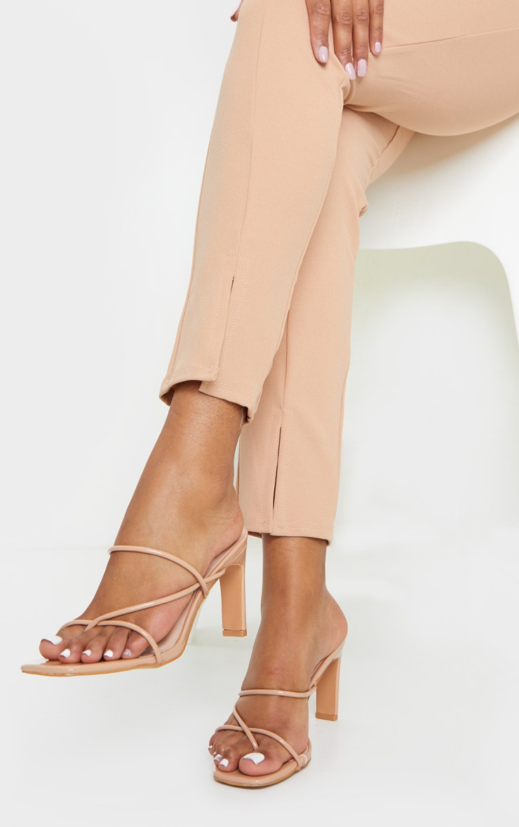 Nude Triple Strap Toe Thong Flat Heel Square Toe Mules 1