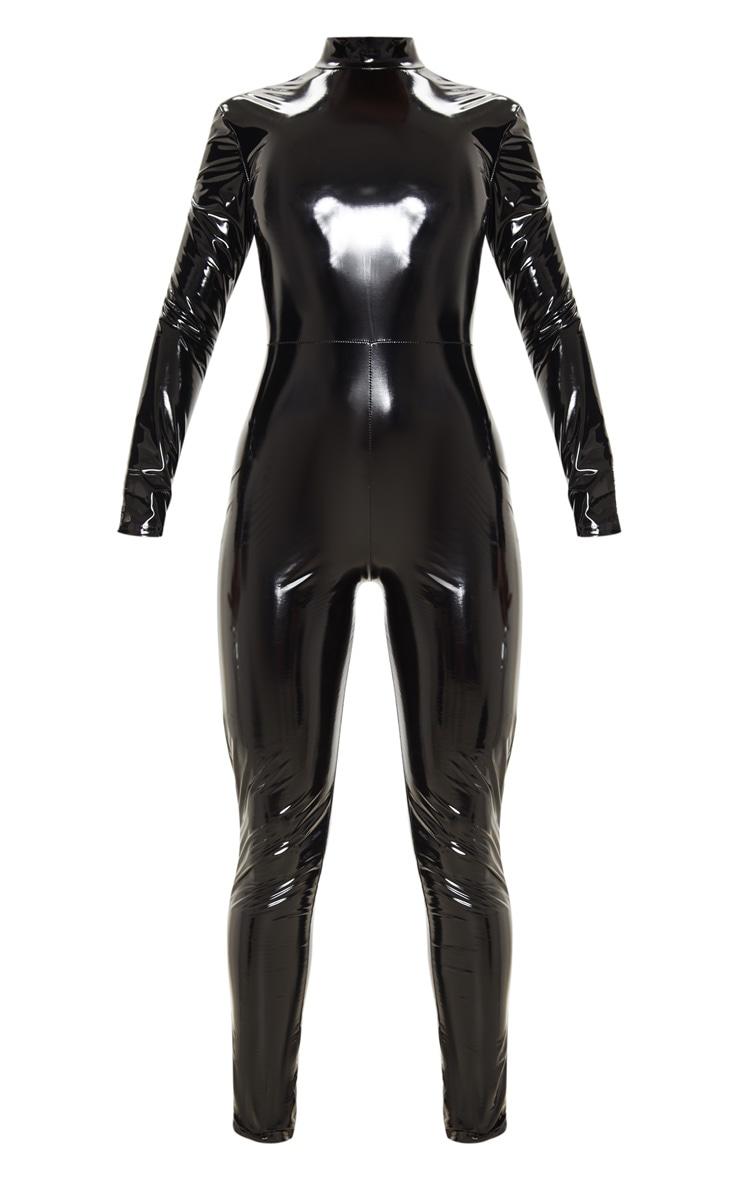 Black Backless Vinyl Long Sleeve Jumpsuit 3