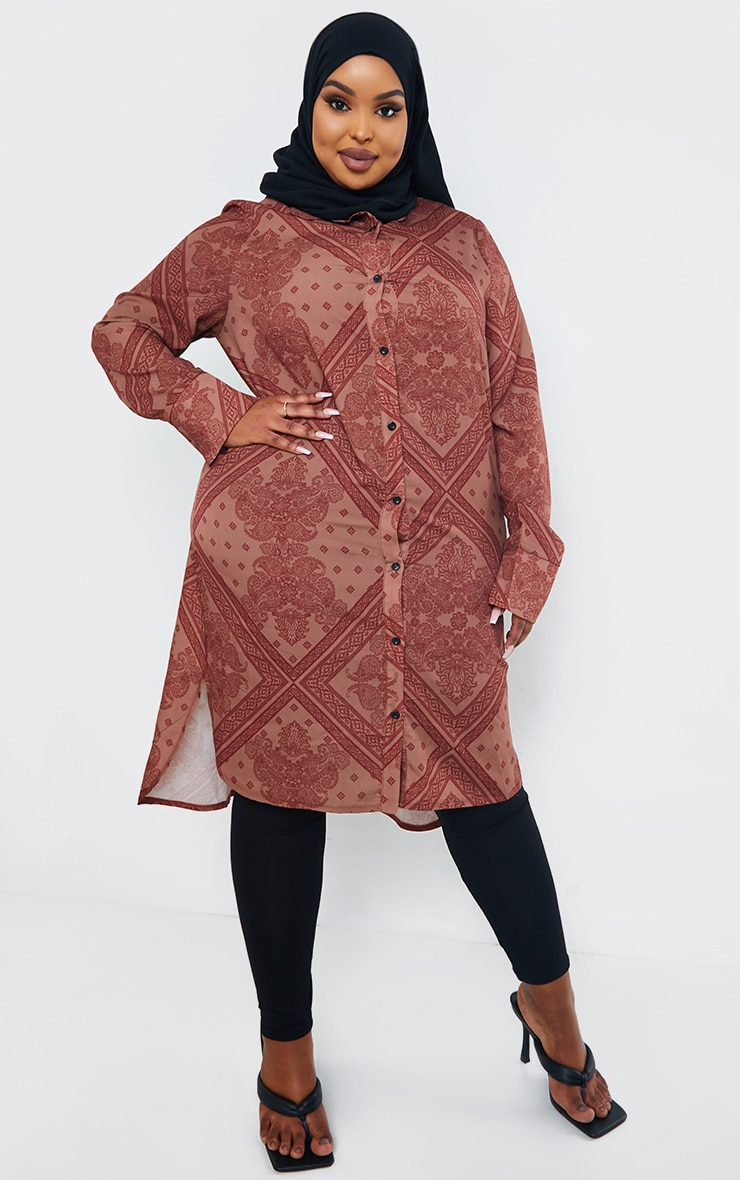 Plus Rust Printed Split Hem Shirt Dress 1