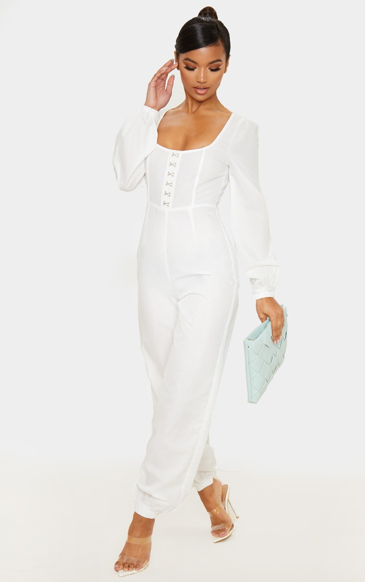 White Corset Detail Long Sleeve Jumpsuit 4