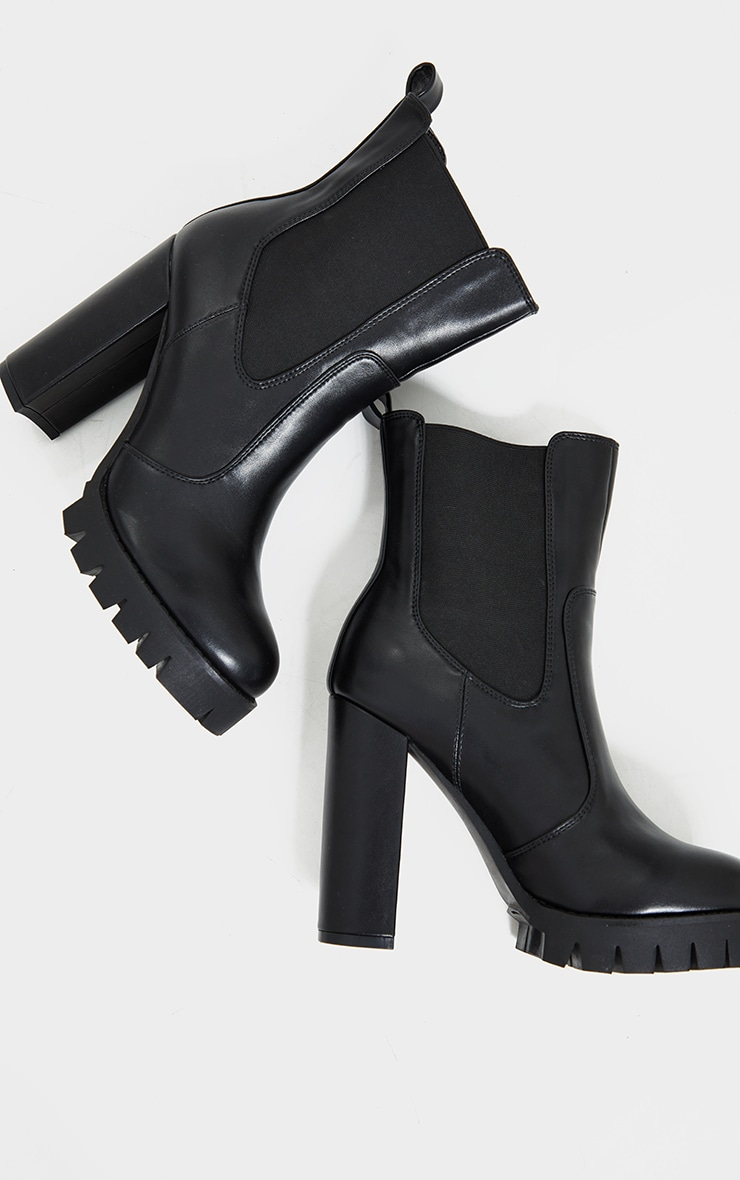 Black Contrast Stich Chucky Cleated Sole High Heels Chelsea Boots 3