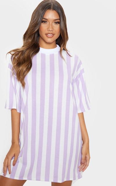 a103f8acd45 Lilac Vertical Stripe Oversized Boyfriend T Shirt Dress