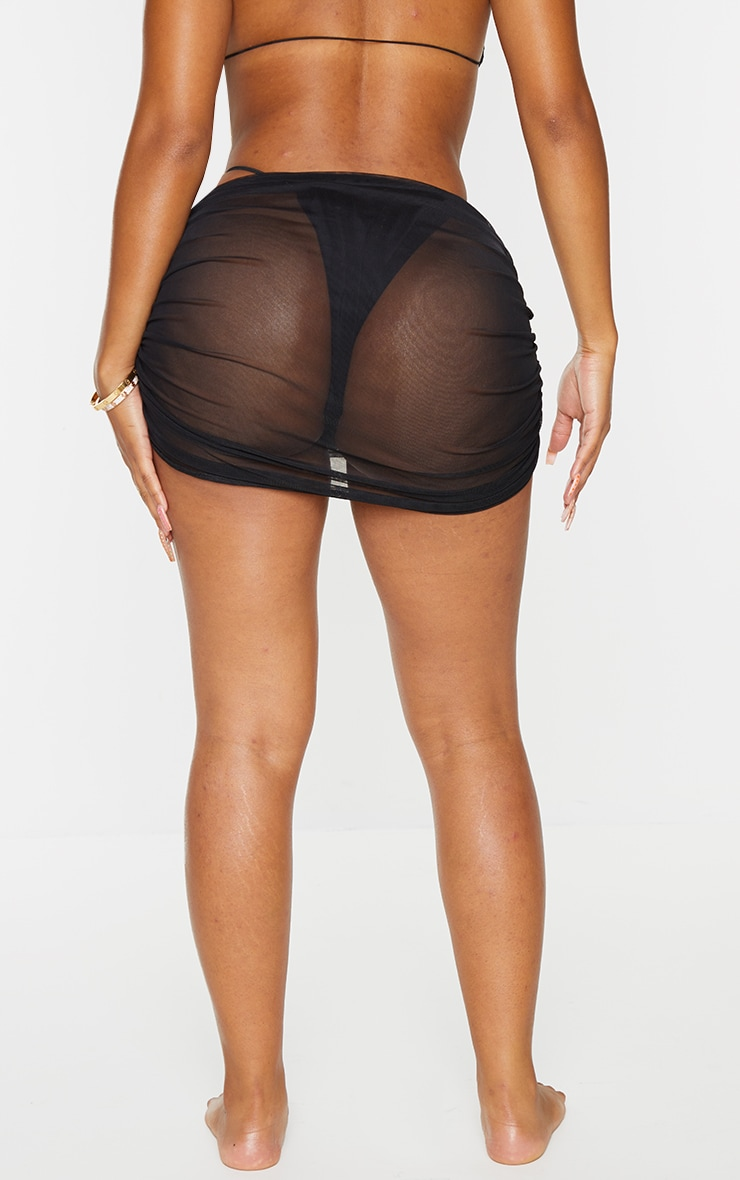 Shape Black Mesh Ruched Beach Skirt 3