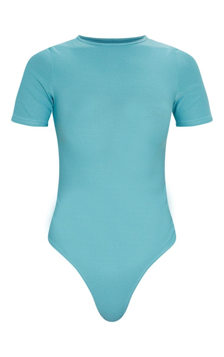 Dusty Turquoise Crepe Short Sleeve Thong Bodysuit 3