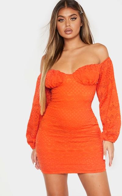Burnt Orange Bardot Puff Sleeve Lace Bodycon Dress