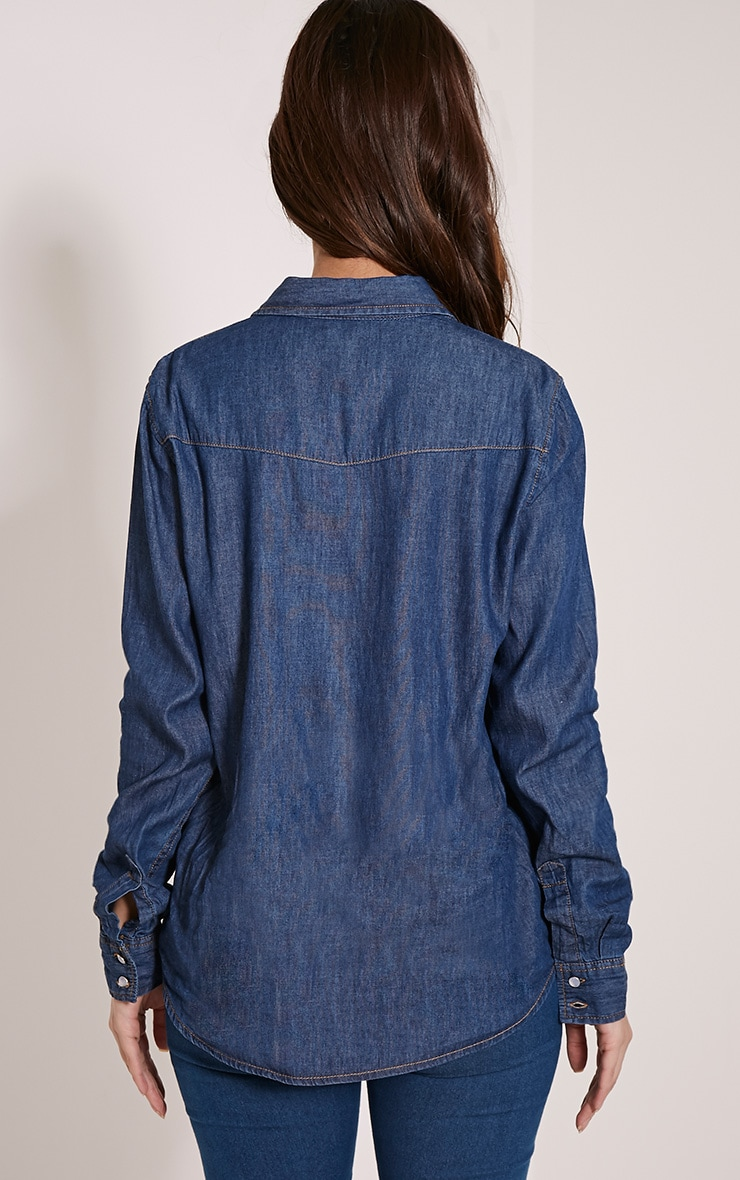Fion Dark Blue Wash Denim Shirt 2