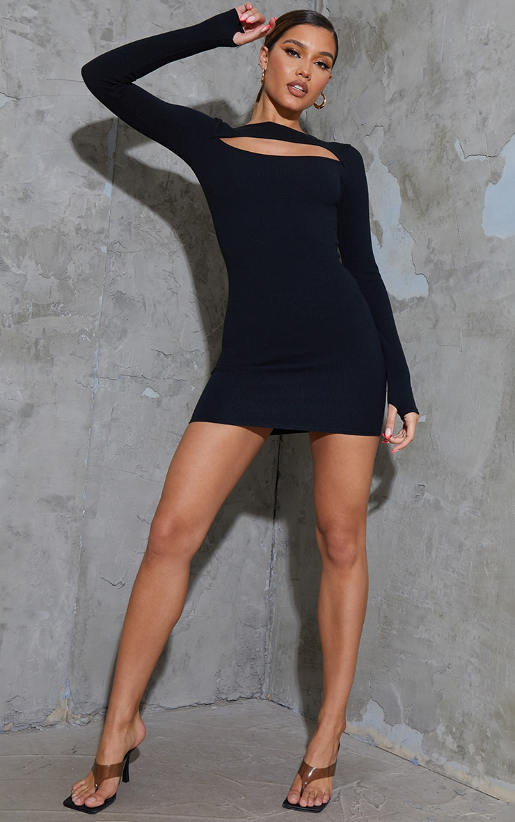 Black Ribbed Long Sleeve Cut Out Thumb Hole Bodycon Dress 3