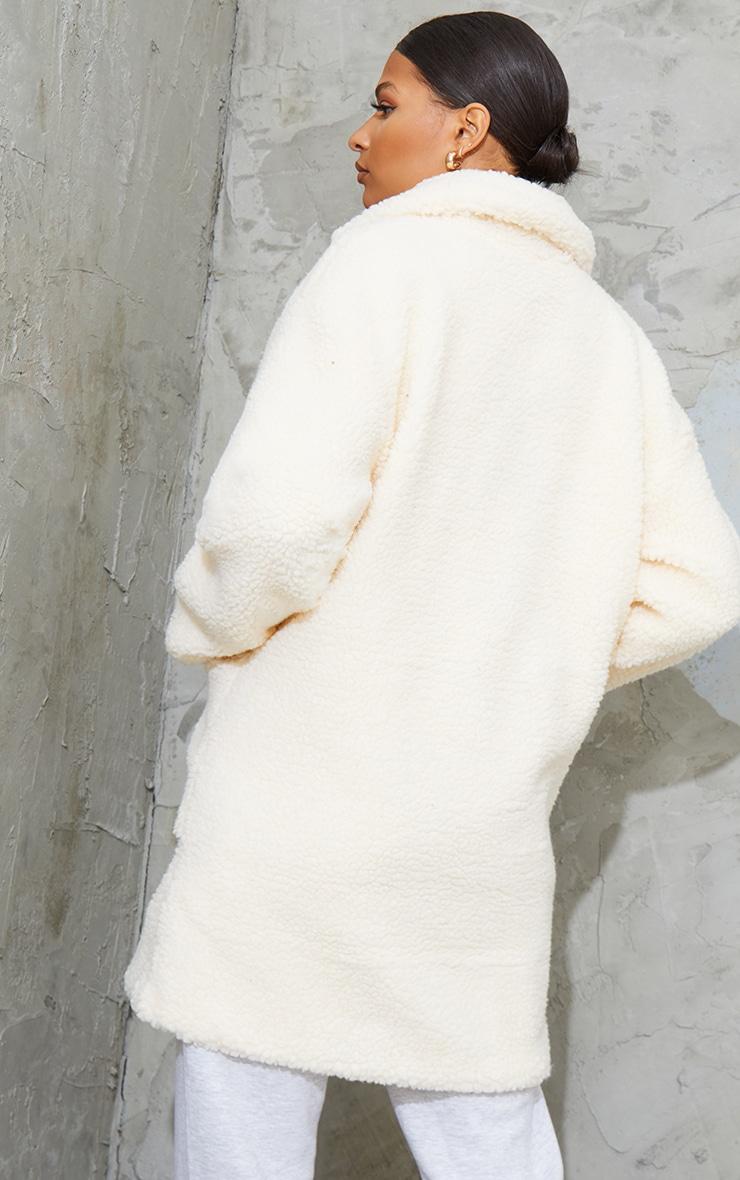 Manteau mi-long en imitation peau de mouton crème 2