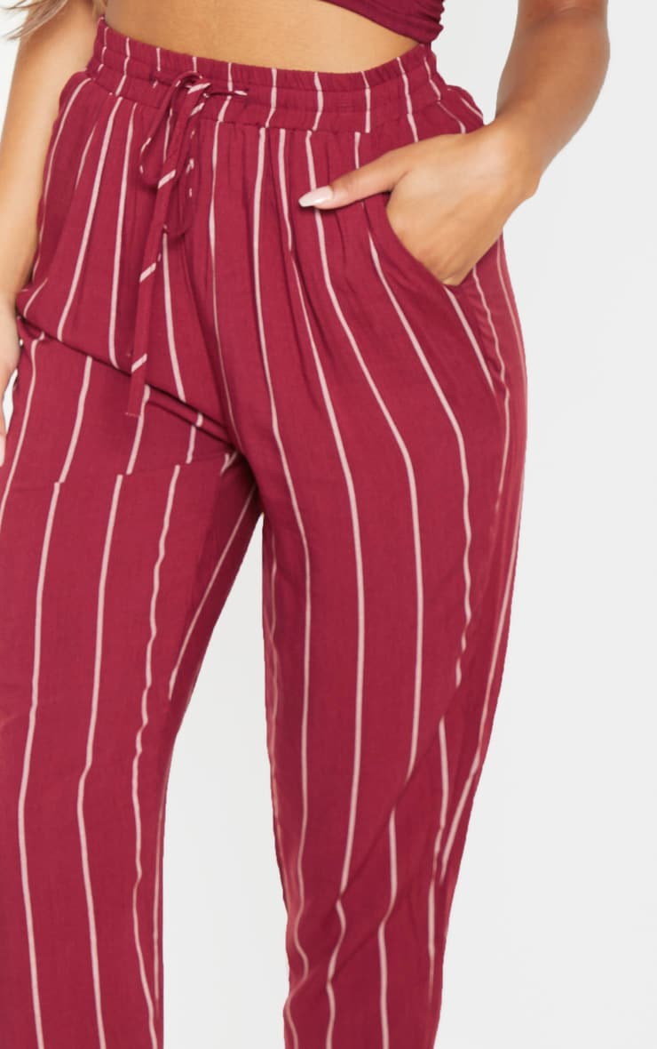 Burgundy Pinstripe Casual Pants 5