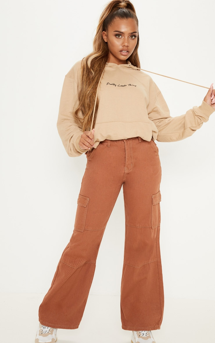 Dark Rust Contrast Stitch Wide Leg Cropped Cargo Jeans