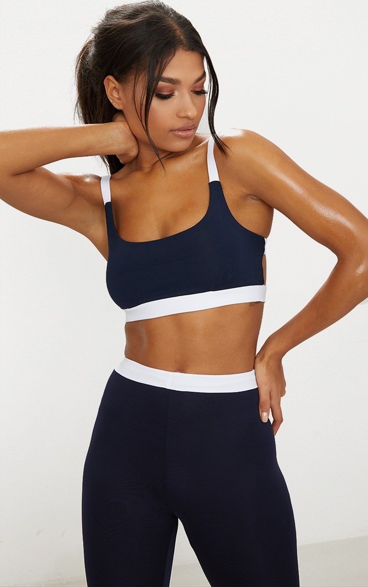 Navy Caged Back Contrast Sports Bra 1