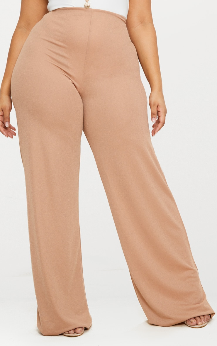 Plus Camel High Waisted Wide Leg Trousers 2