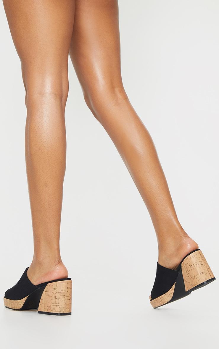 Black Cork Extreme Chunky Heel Platform Mules 2