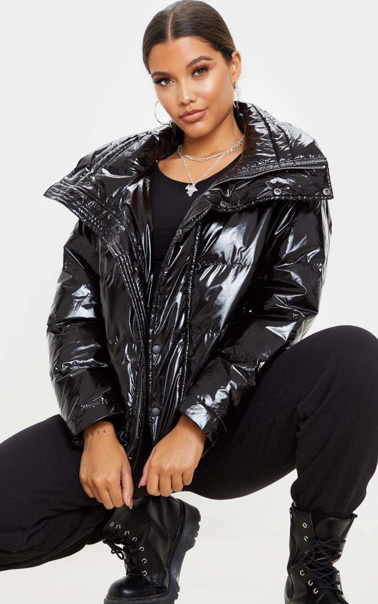 Black High Shine Oversized Hooded Puffer 1