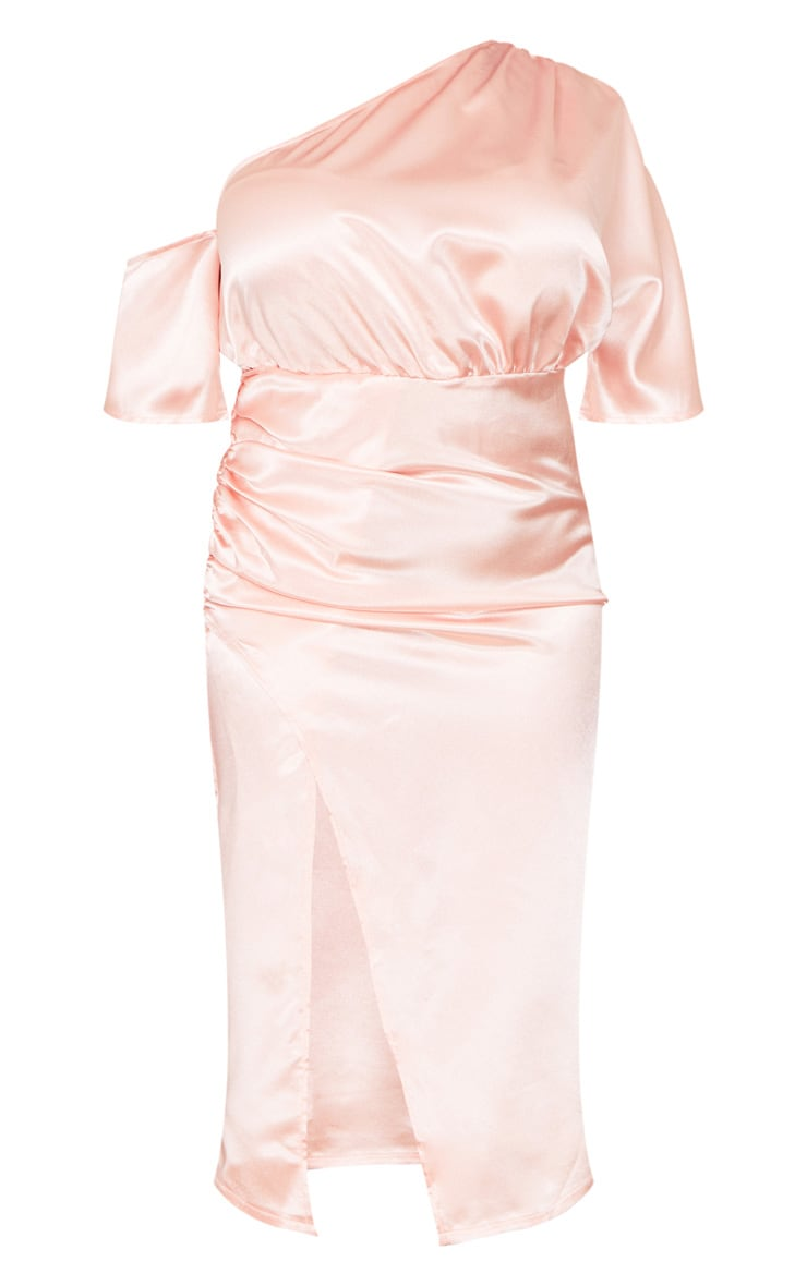 Plus Blush Satin One Shoulder Ruched Skirt Midi Dress 5
