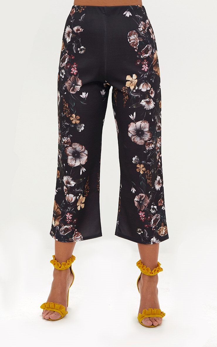 Black Floral Placement Culottes 2
