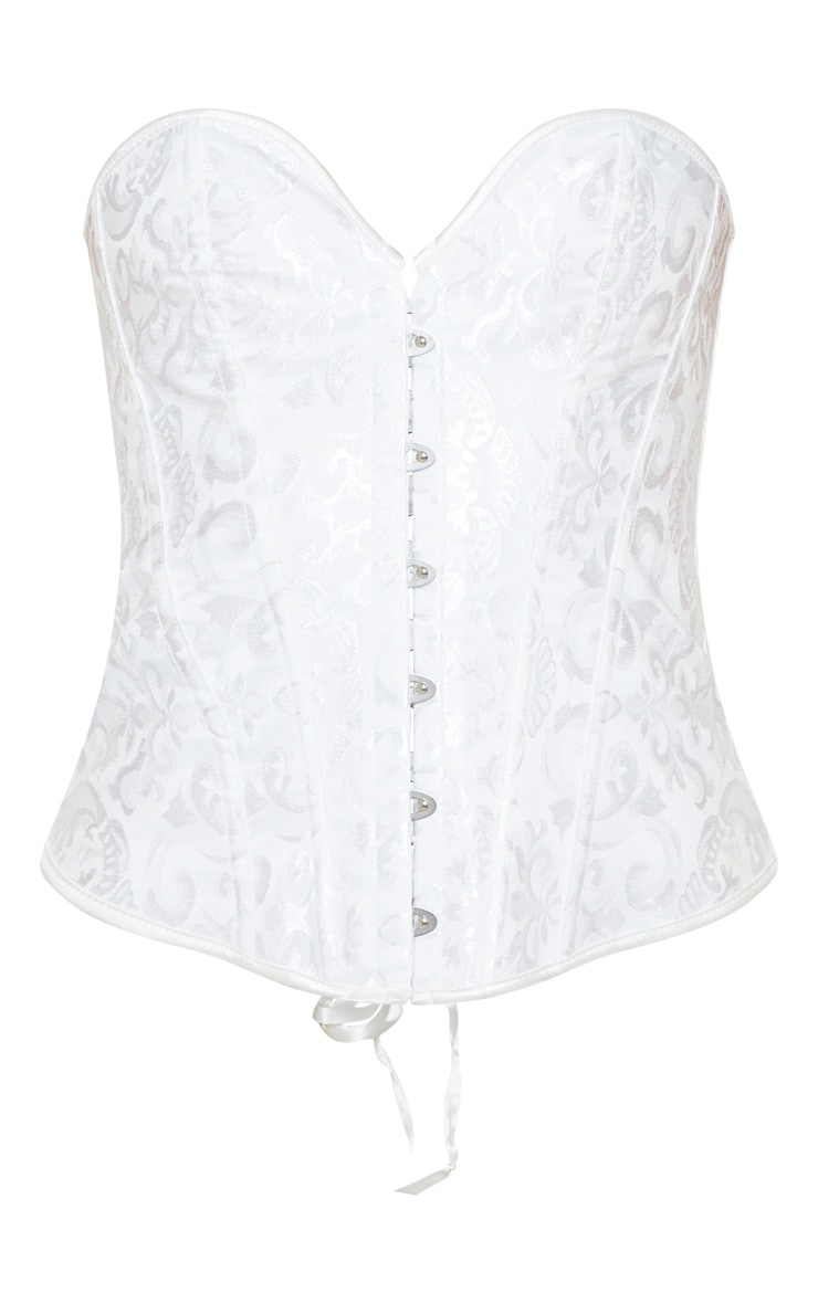 White Hook Front Ribbon Corset 6