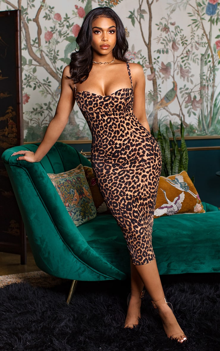 Leopard Print Strappy Cup Detail Midi Dress 1