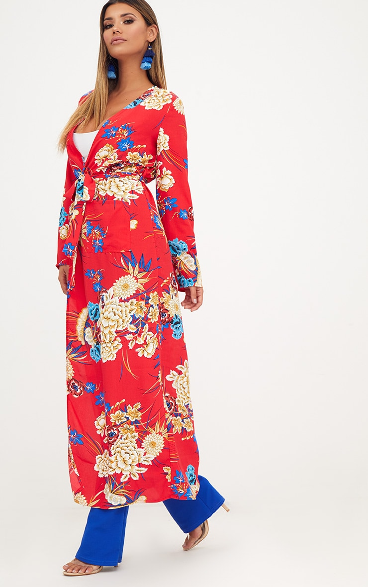 Red Floral Maxi Duster 4