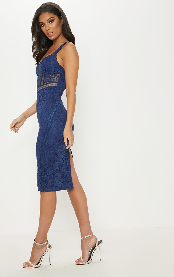 Navy Lace Cup Detail Midi Dress 4