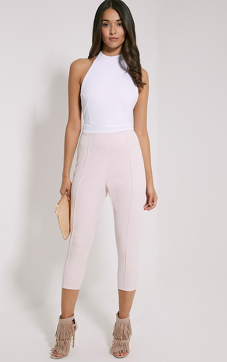 Nicki Two Tone Cream and Pink Backless Jumpsuit 4