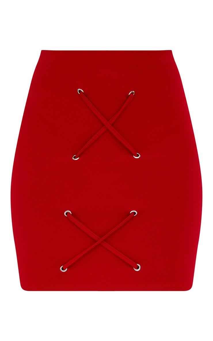 Petite Red Eyelet Criss Cross Mini Skirt 3