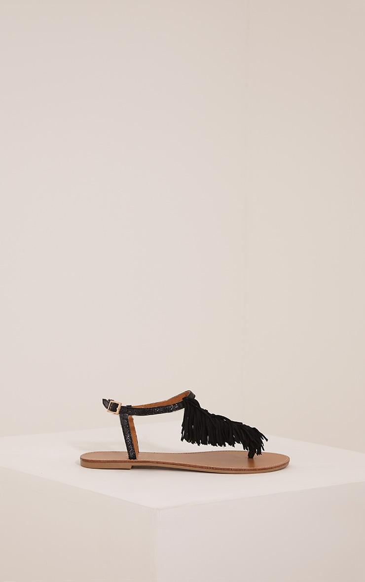 Meghanne Black Fringe Sandals 3