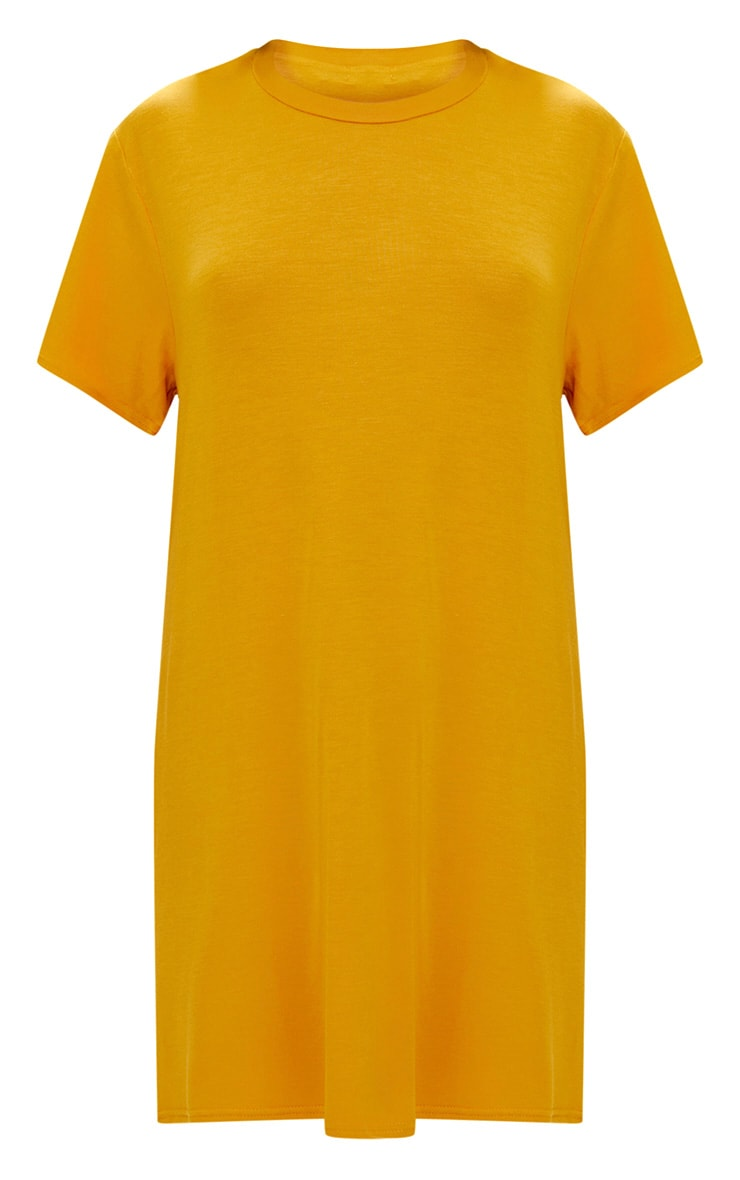 Basic Mustard Short Sleeve Tshirt Dress 3