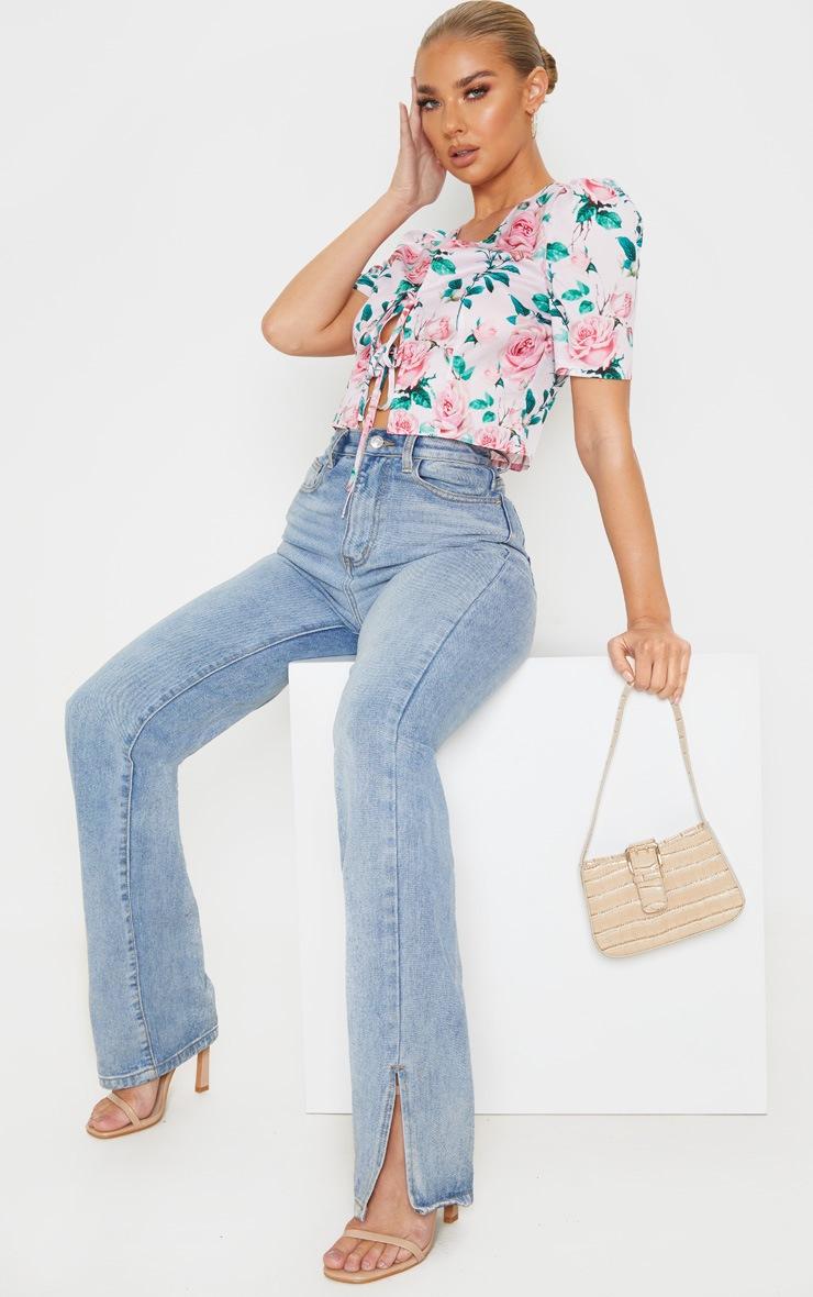Pink Floral Printed Tie Front Short Sleeve Crop Top 4
