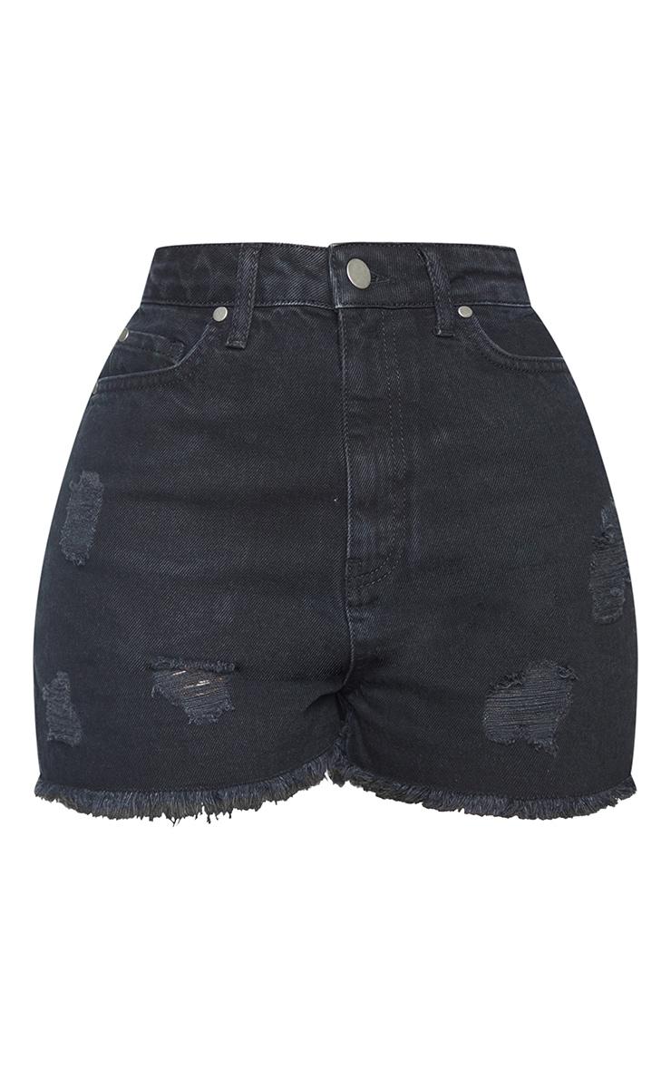 Shape Black Ripped High Waist Denim Shorts 6