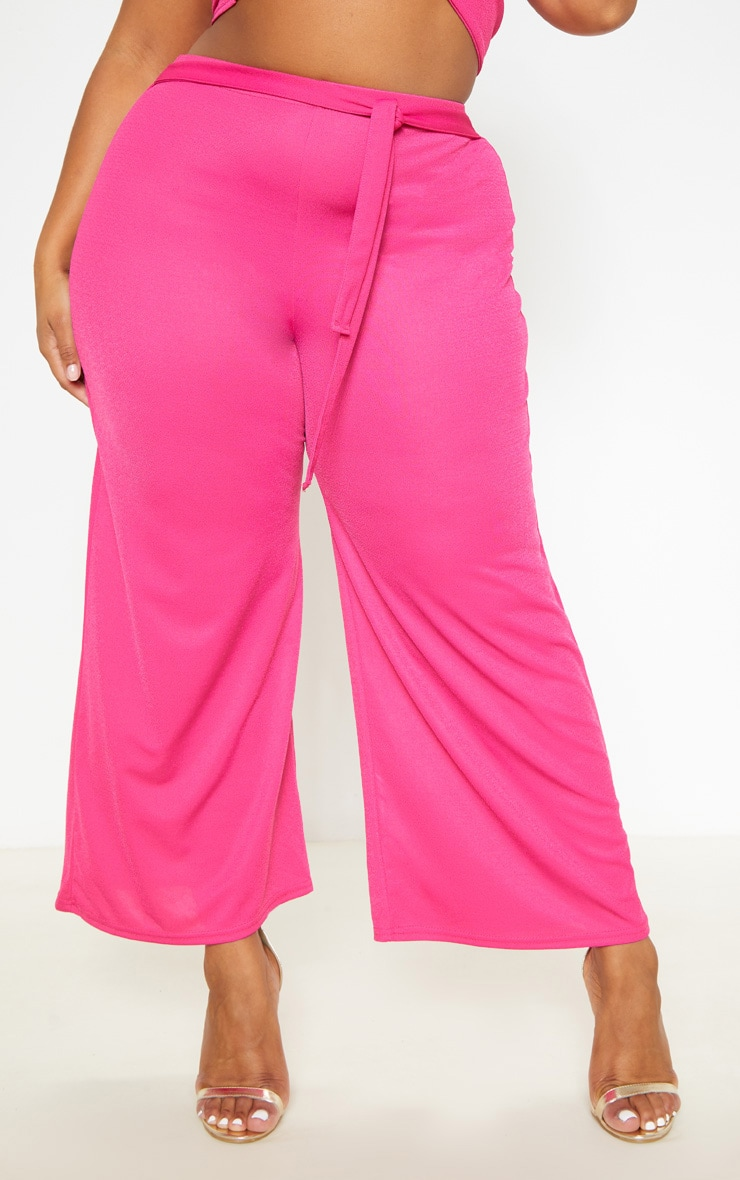 Plus Hot Pink Tie Waist Culotte 2