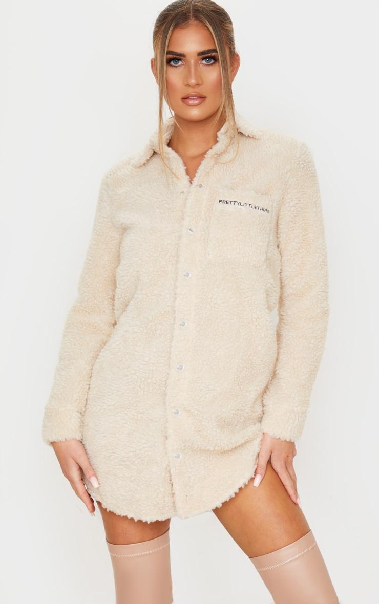 PRETTYLITTLETHING Camel Embroidered Borg Shirt Dress 5